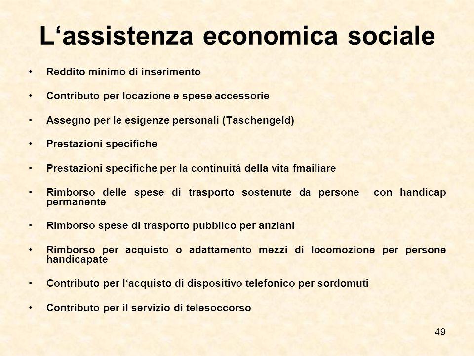 L'assistenza economica sociale