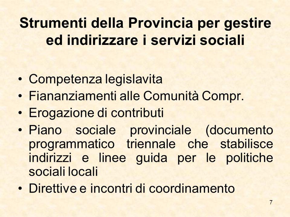 Strumenti della Provincia per gestire ed indirizzare i servizi sociali