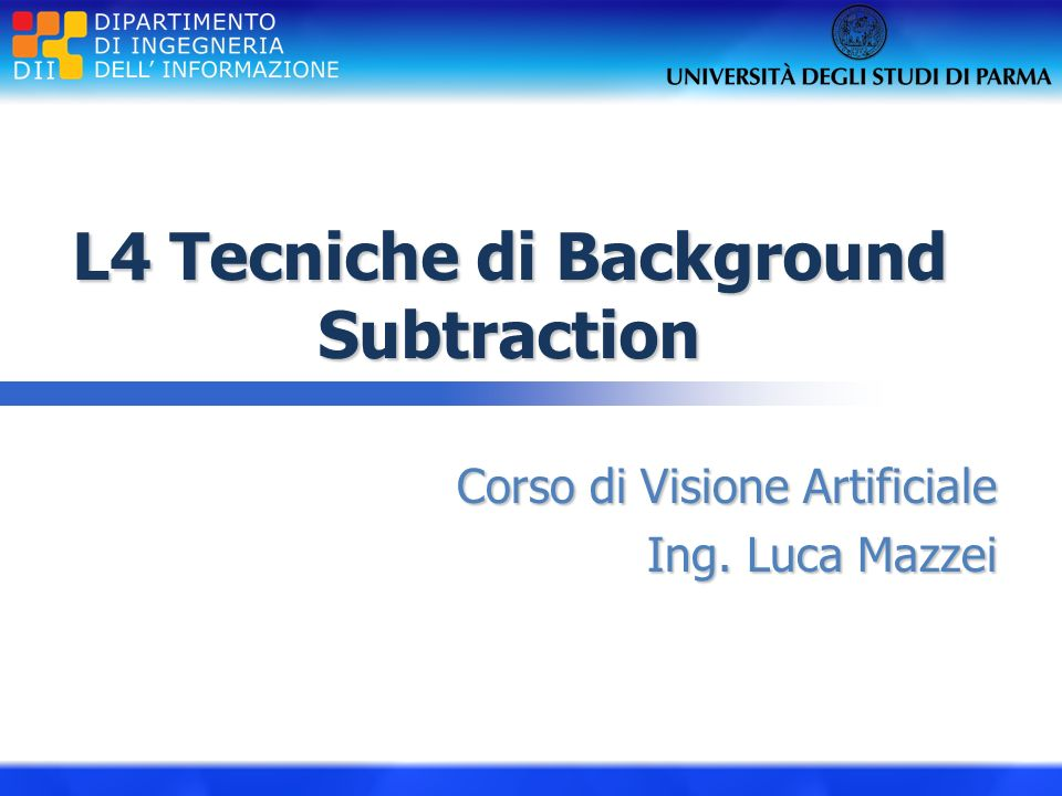 L4 Tecniche di Background Subtraction