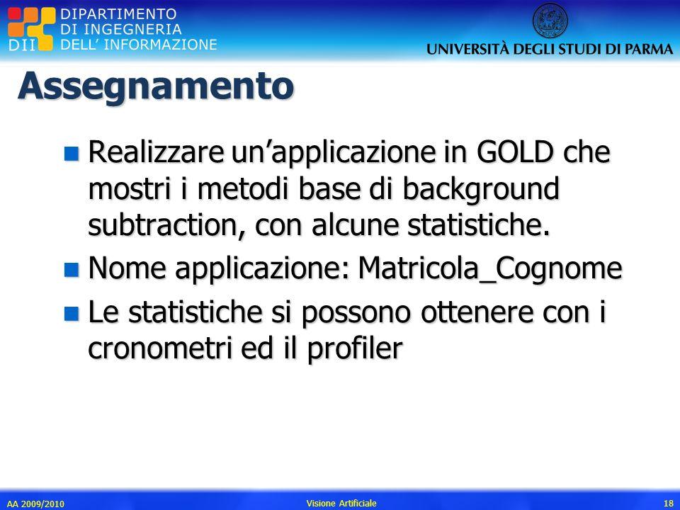 Assegnamento Realizzare un'applicazione in GOLD che mostri i metodi base di background subtraction, con alcune statistiche.
