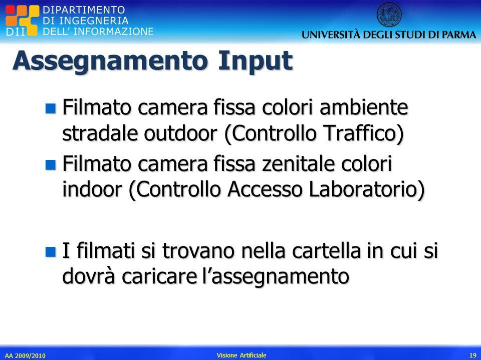 Assegnamento Input Filmato camera fissa colori ambiente stradale outdoor (Controllo Traffico)
