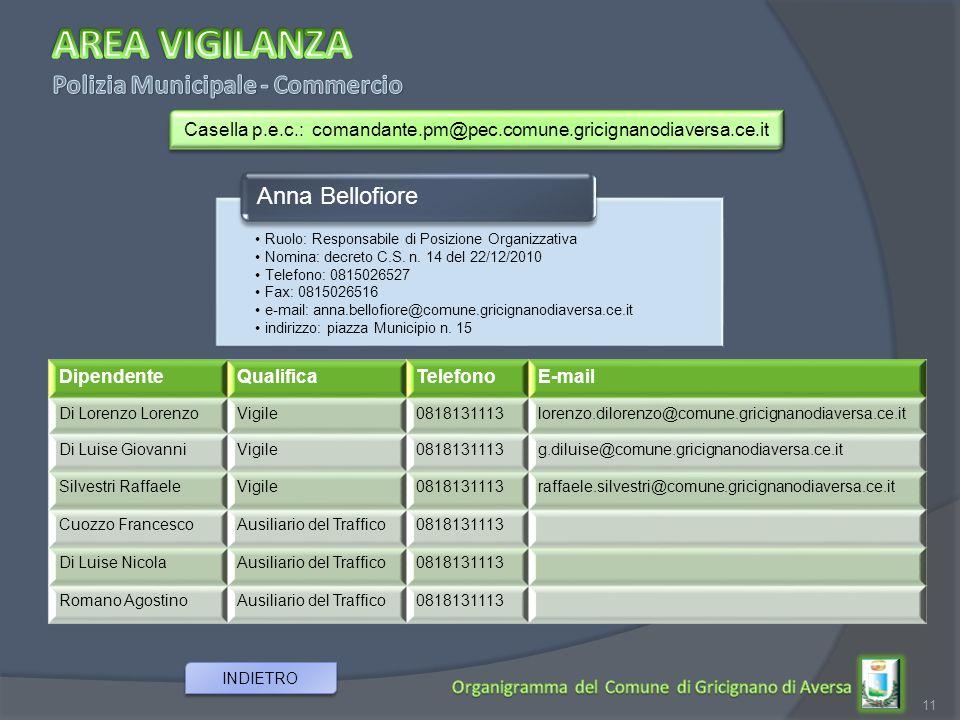 Casella p.e.c.: comandante.pm@pec.comune.gricignanodiaversa.ce.it