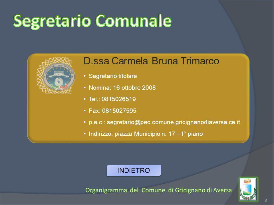 Segretario Comunale D.ssa Carmela Bruna Trimarco INDIETRO