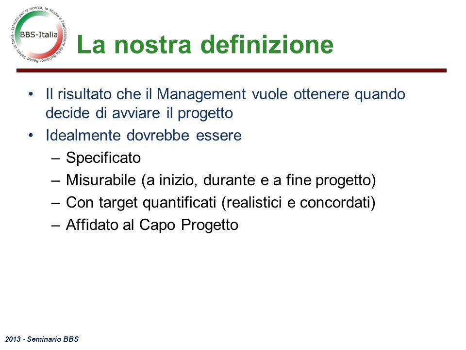 La nostra definizione Il risultato che il Management vuole ottenere quando decide di avviare il progetto.