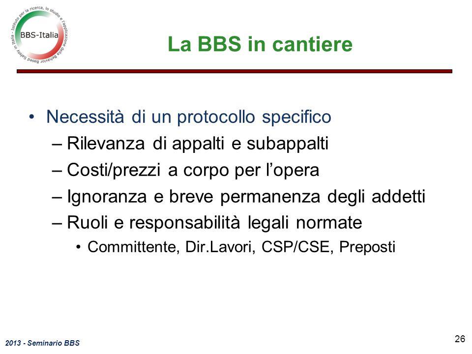 La BBS in cantiere Necessità di un protocollo specifico