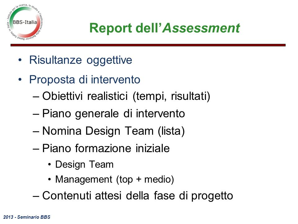 Report dell'Assessment