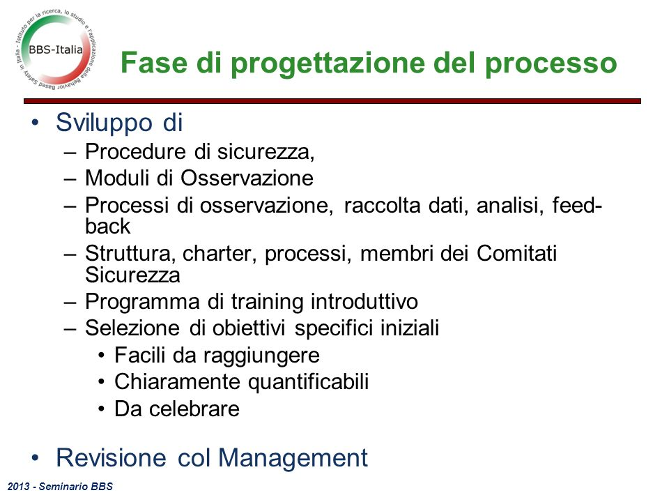 Fase di progettazione del processo
