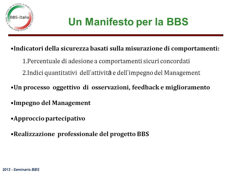 Un Manifesto per la BBS Indicatori della sicurezza basati sulla misurazione di comportamenti: