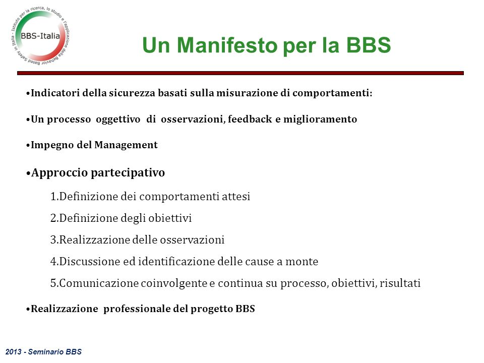 Un Manifesto per la BBS Approccio partecipativo