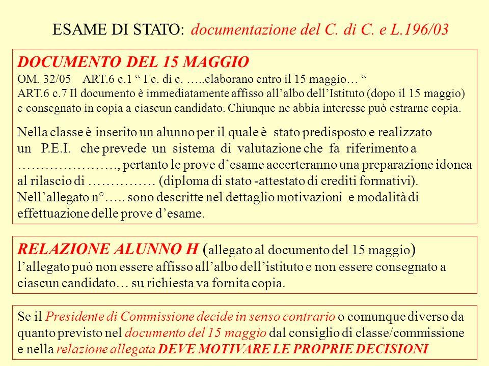 ESAME DI STATO: documentazione del C. di C. e L.196/03