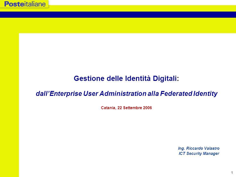 Gestione delle Identità Digitali: dall'Enterprise User Administration alla Federated Identity Catania, 22 Settembre 2006 Ing.