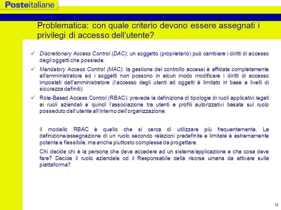 Problematica: con quale criterio devono essere assegnati i privilegi di accesso dell'utente