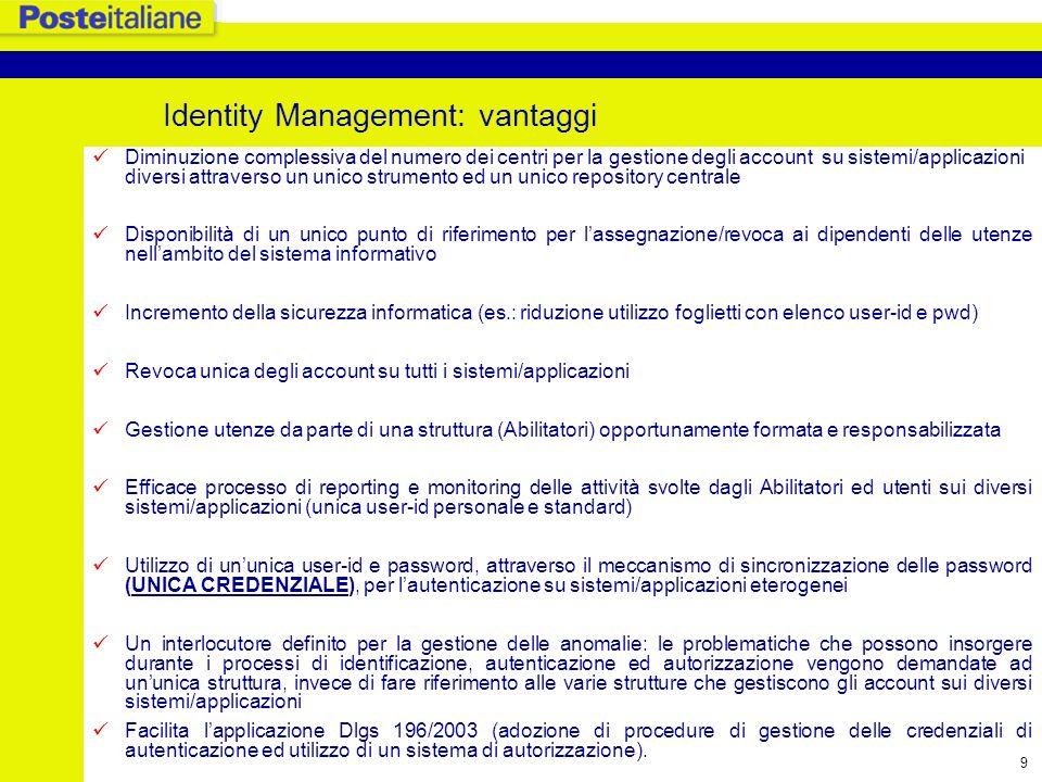 Identity Management: vantaggi
