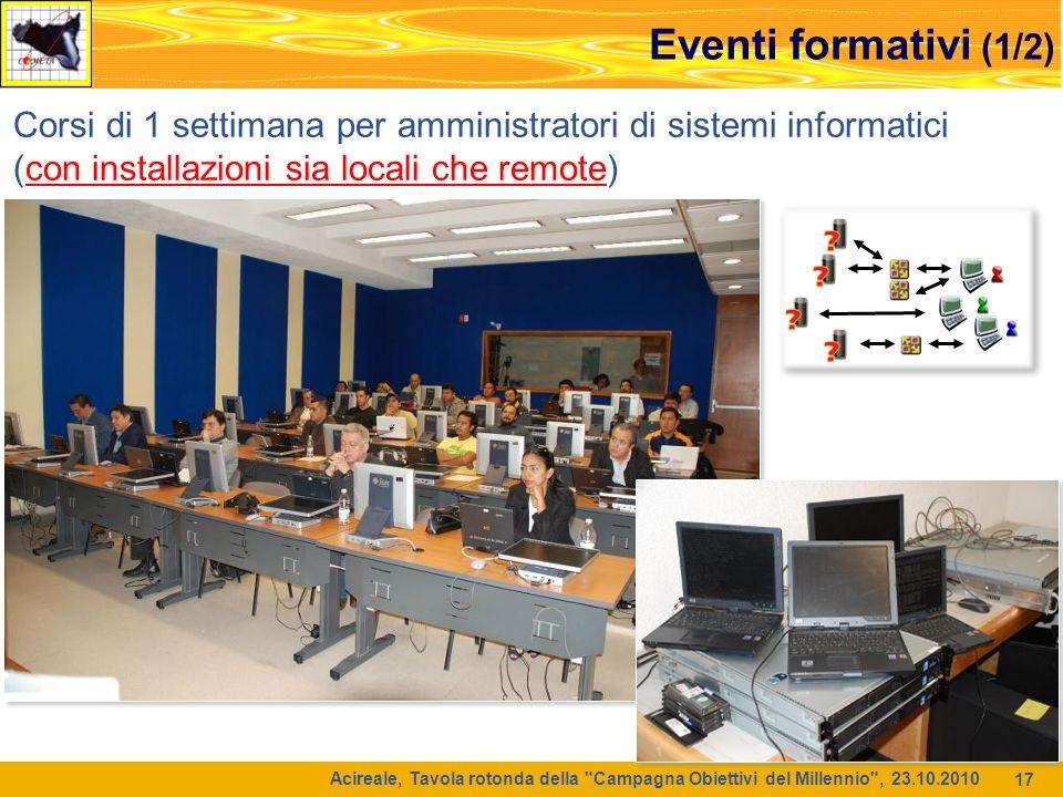 Eventi formativi (1/2) Corsi di 1 settimana per amministratori di sistemi informatici. (con installazioni sia locali che remote)