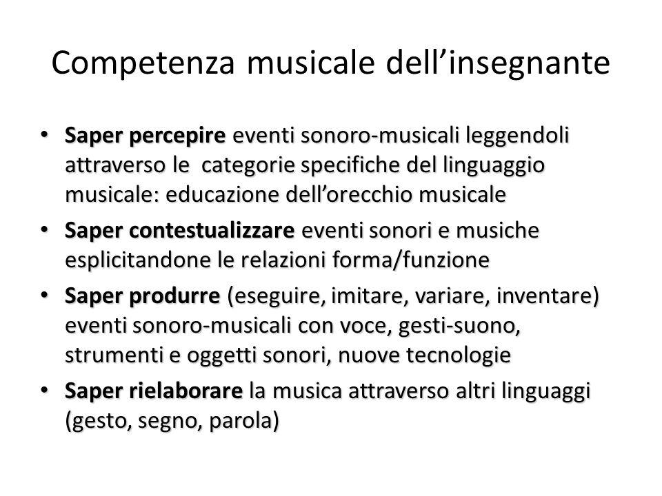 Competenza musicale dell'insegnante