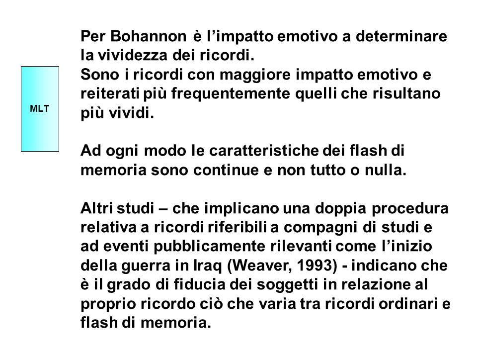 Per Bohannon è l'impatto emotivo a determinare la vividezza dei ricordi.