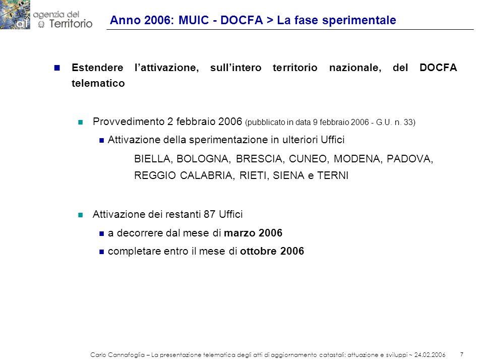 Anno 2006: MUIC - DOCFA > La fase sperimentale