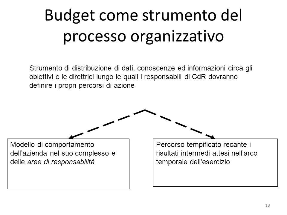 Budget come strumento del processo organizzativo
