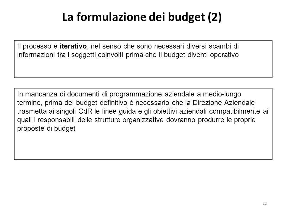 La formulazione dei budget (2)