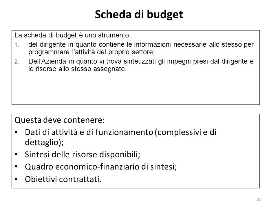 Scheda di budget Questa deve contenere:
