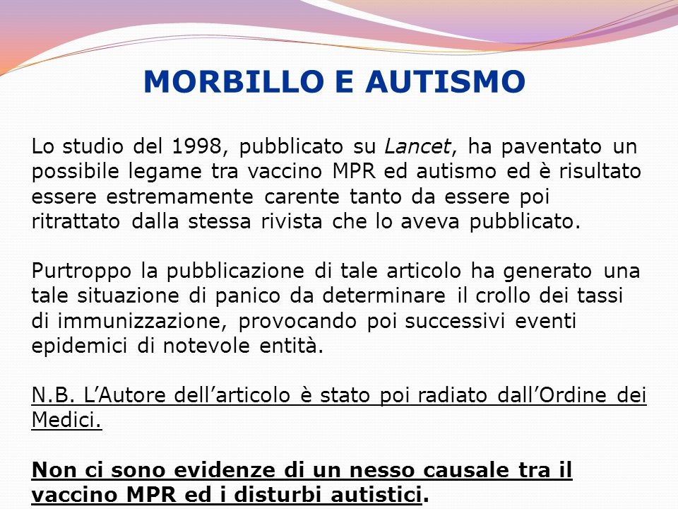 MORBILLO E AUTISMO