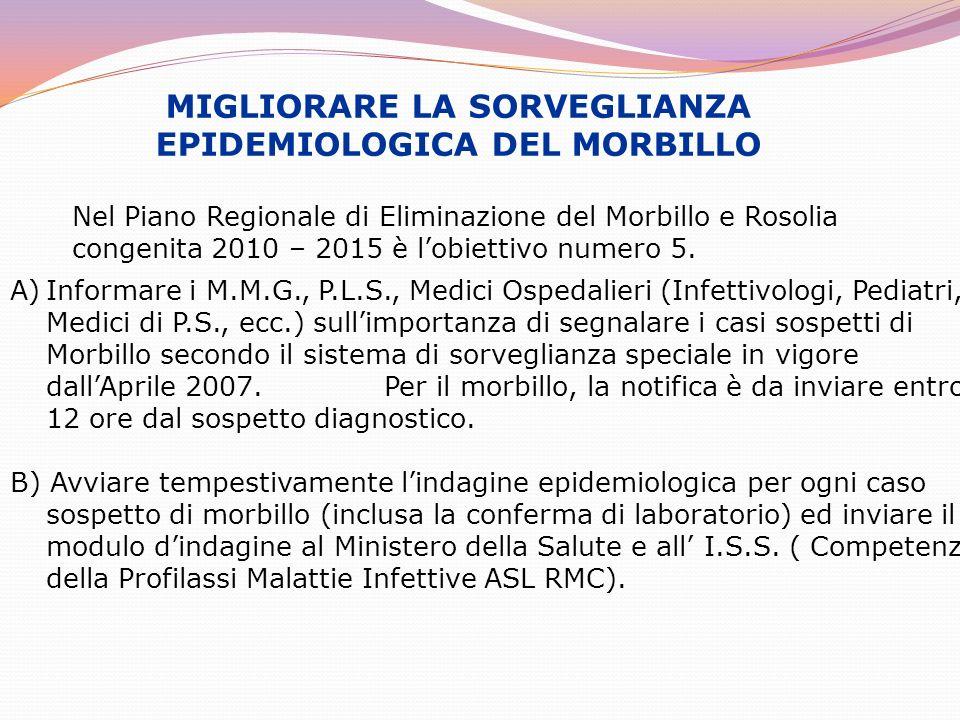 MIGLIORARE LA SORVEGLIANZA EPIDEMIOLOGICA DEL MORBILLO
