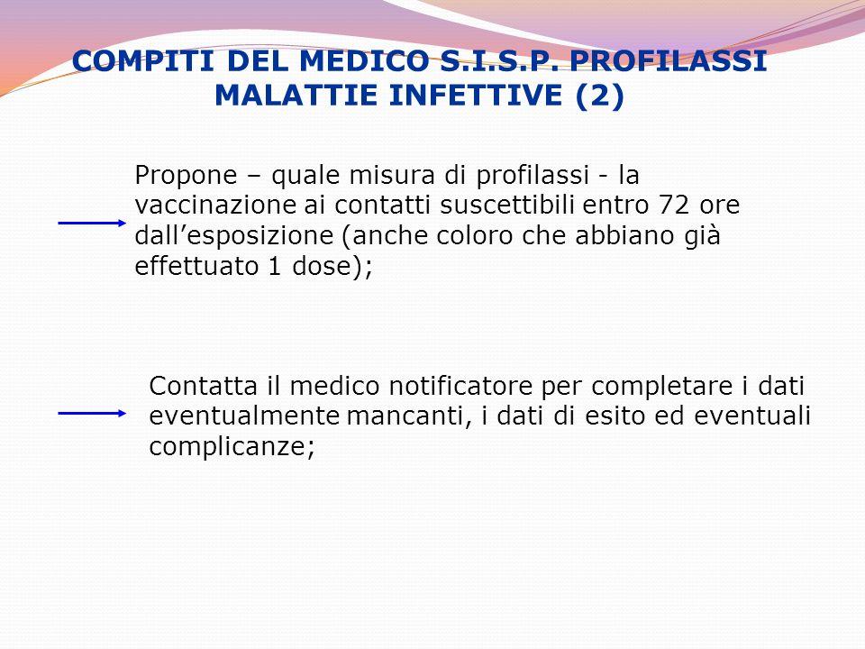 COMPITI DEL MEDICO S.I.S.P. PROFILASSI MALATTIE INFETTIVE (2)