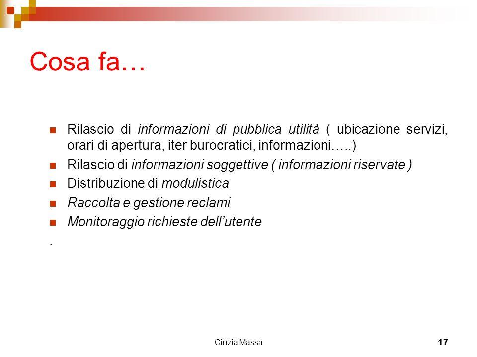 Cosa fa… Rilascio di informazioni di pubblica utilità ( ubicazione servizi, orari di apertura, iter burocratici, informazioni…..)