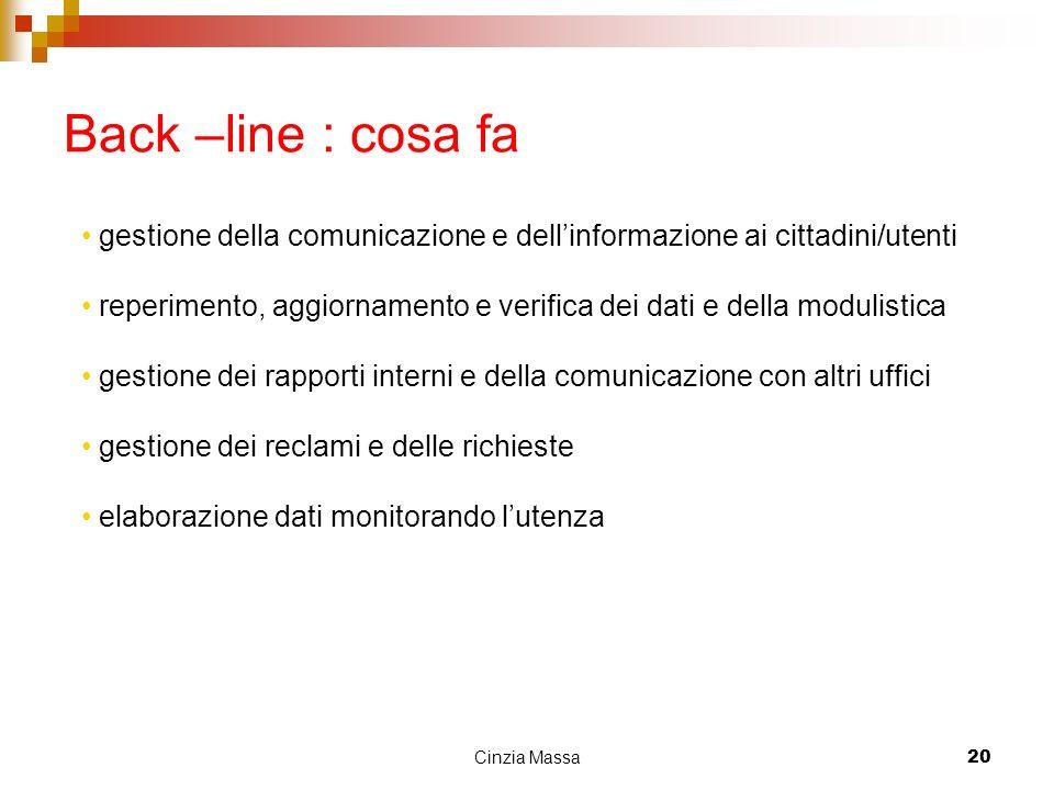 Back –line : cosa fa gestione della comunicazione e dell'informazione ai cittadini/utenti.