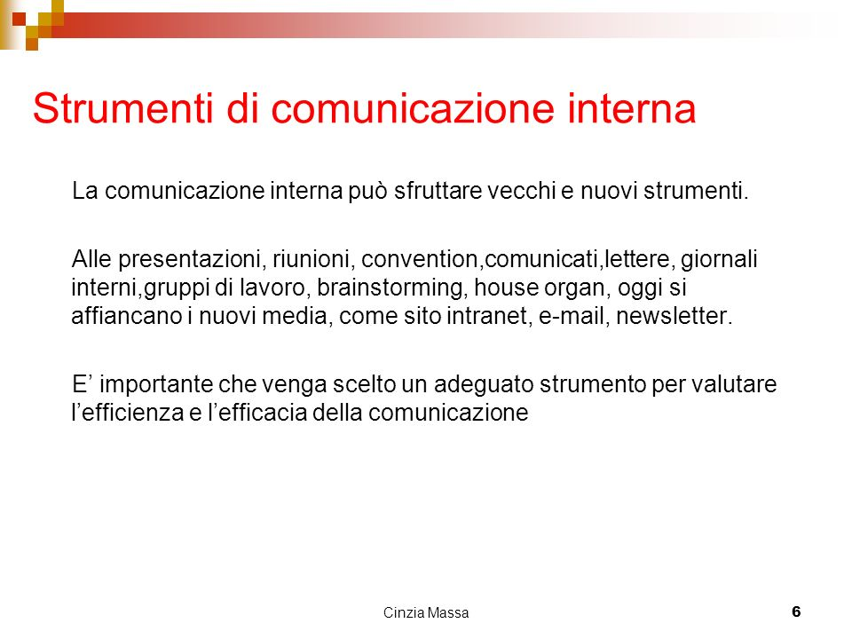 Strumenti di comunicazione interna