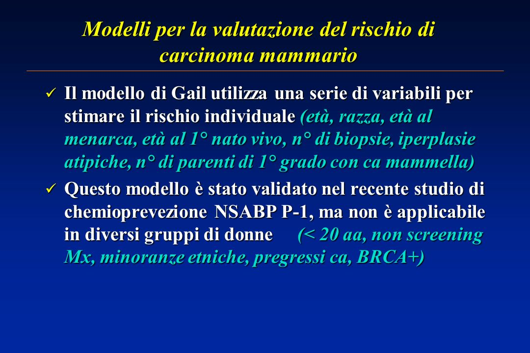 Modelli per la valutazione del rischio di carcinoma mammario