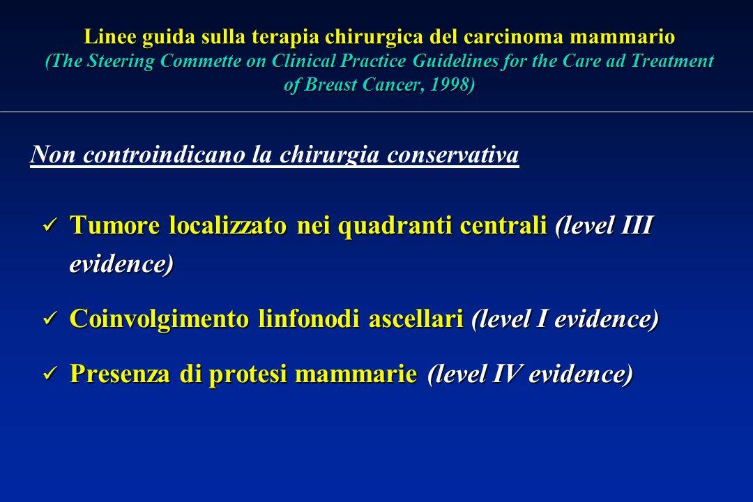 Tumore localizzato nei quadranti centrali (level III evidence)