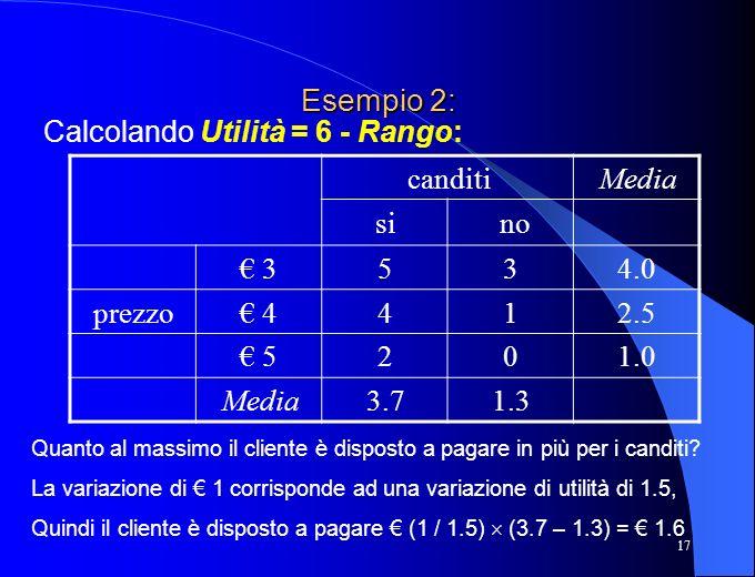 Esempio 2: Calcolando Utilità = 6 - Rango: canditi Media si no € 3 5 3