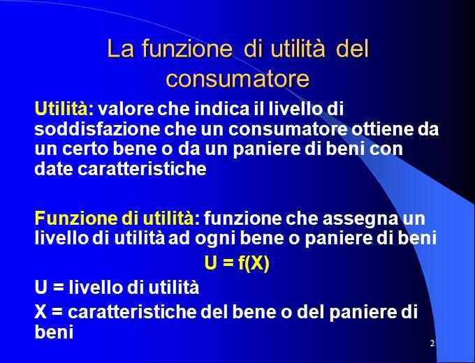La funzione di utilità del consumatore