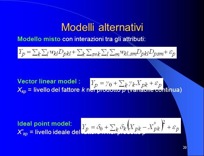 Modelli alternativi Modello misto con interazioni tra gli attributi: