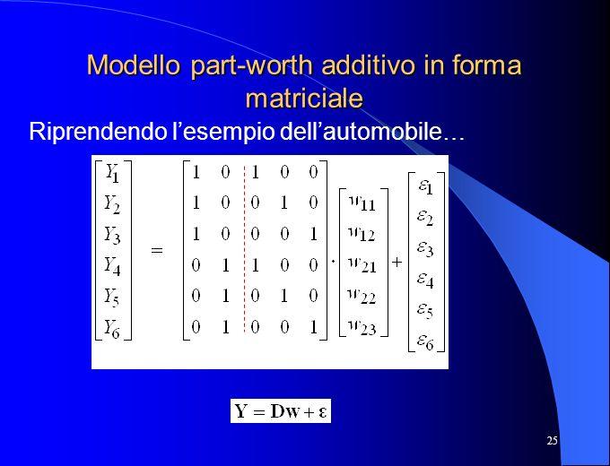 Modello part-worth additivo in forma matriciale