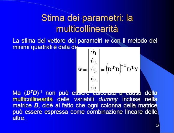 Stima dei parametri: la multicollinearità
