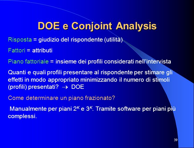 DOE e Conjoint Analysis