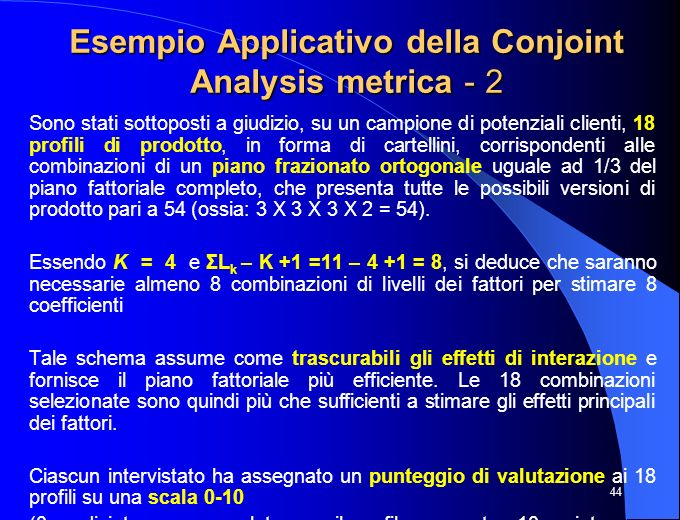 Esempio Applicativo della Conjoint Analysis metrica - 2