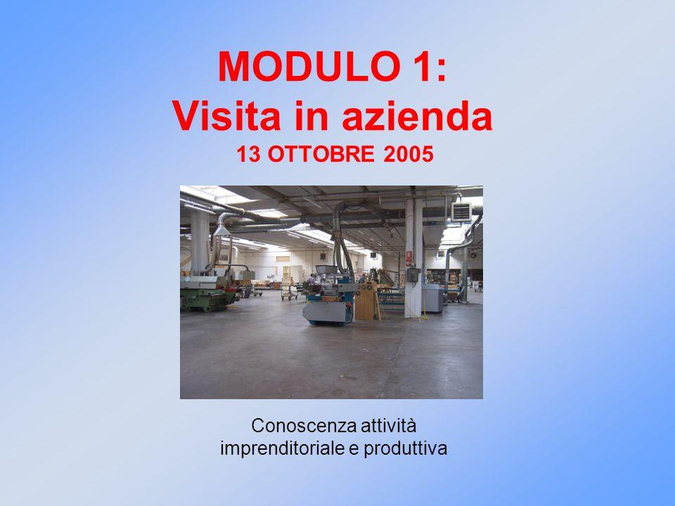 MODULO 1: Visita in azienda 13 OTTOBRE 2005