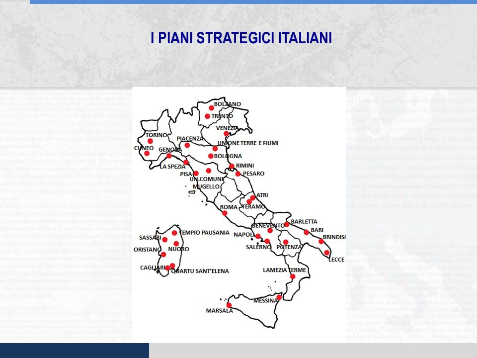 I PIANI STRATEGICI ITALIANI