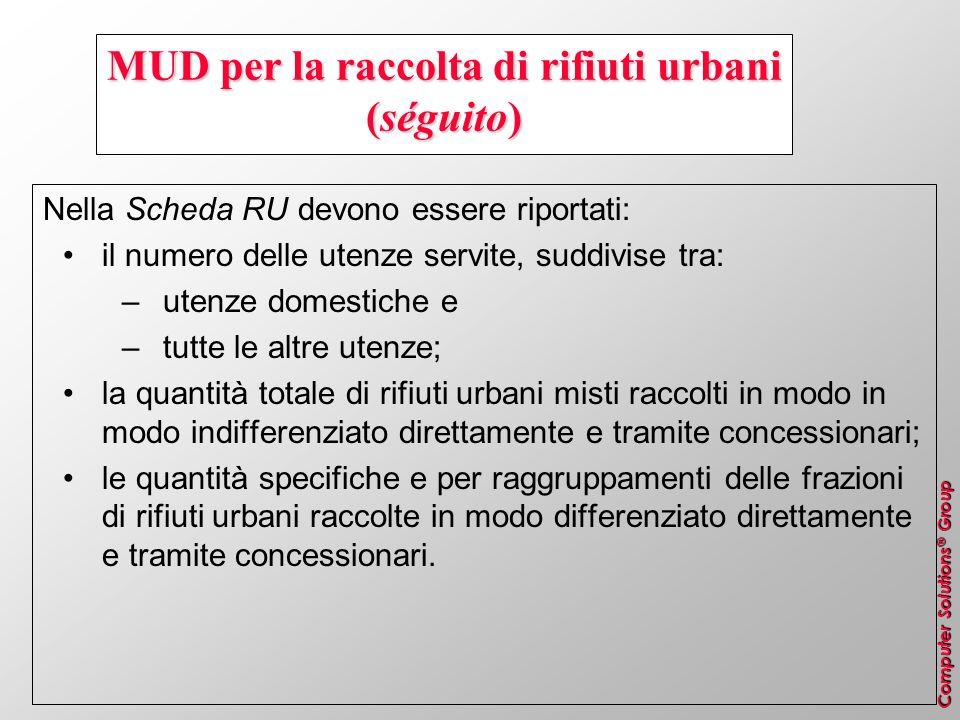 MUD per la raccolta di rifiuti urbani (séguito)