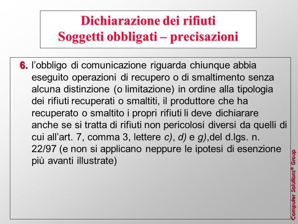 Dichiarazione dei rifiuti Soggetti obbligati – precisazioni