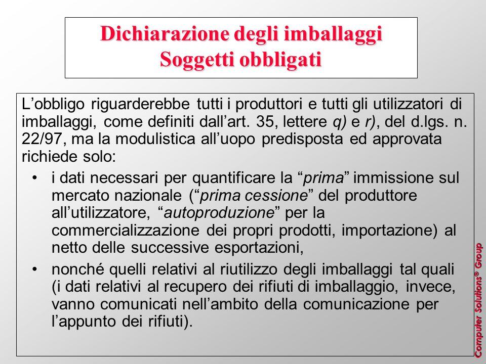 Dichiarazione degli imballaggi Soggetti obbligati