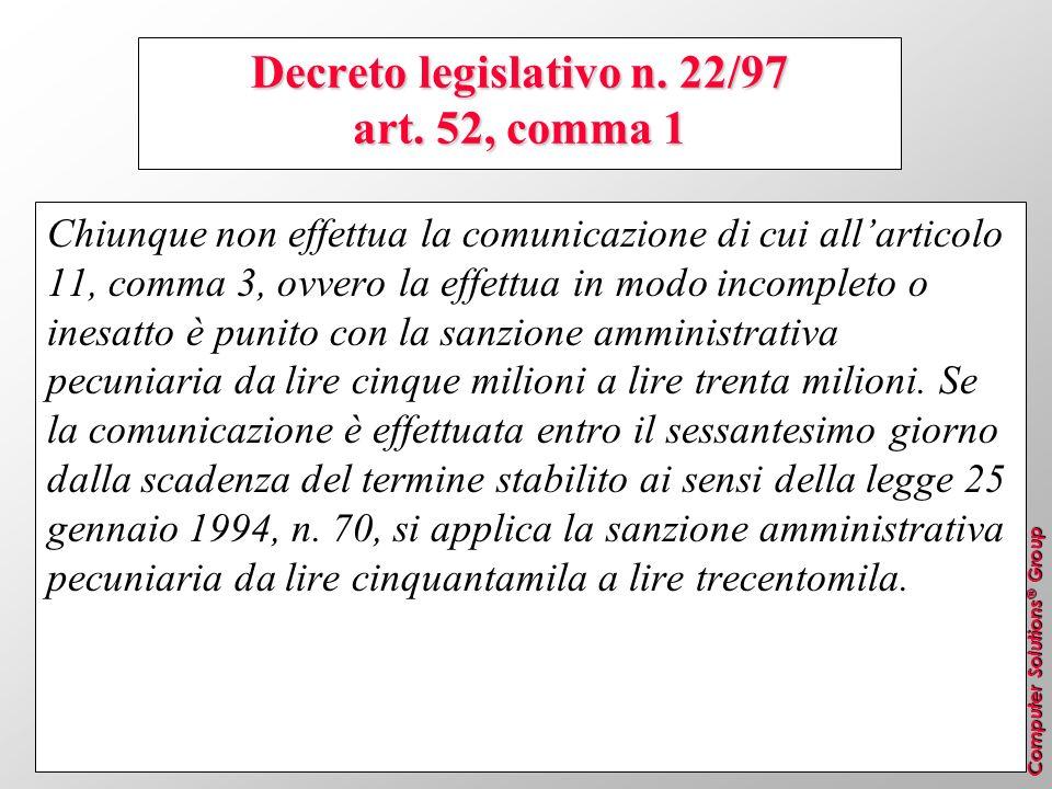 Decreto legislativo n. 22/97 art. 52, comma 1