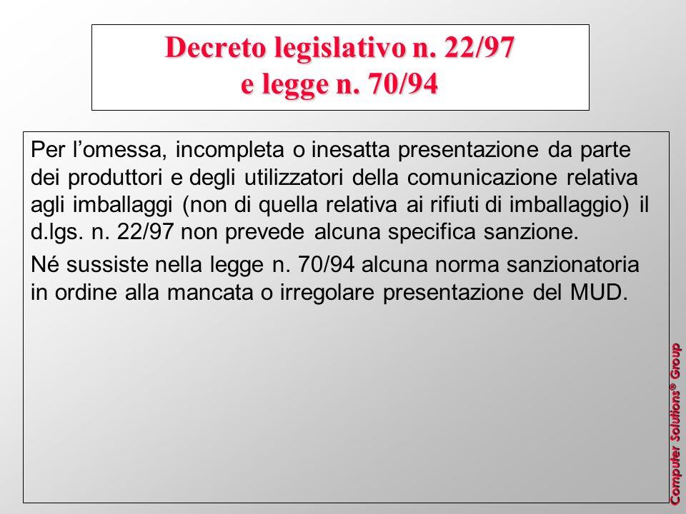 Decreto legislativo n. 22/97 e legge n. 70/94