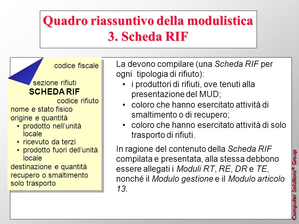Quadro riassuntivo della modulistica 3. Scheda RIF