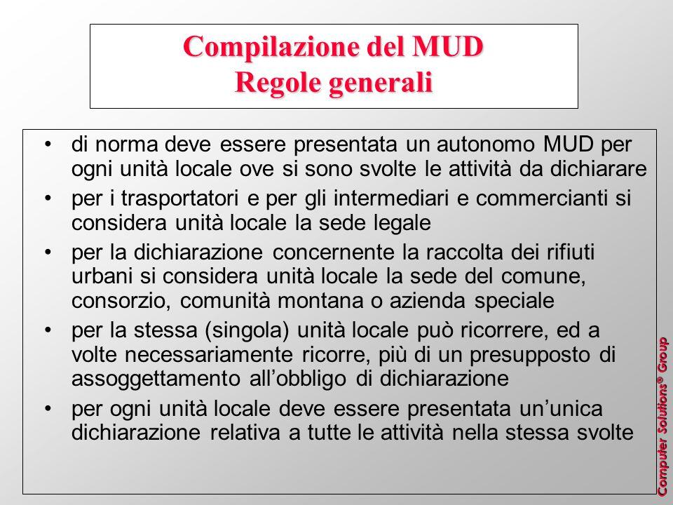 Compilazione del MUD Regole generali