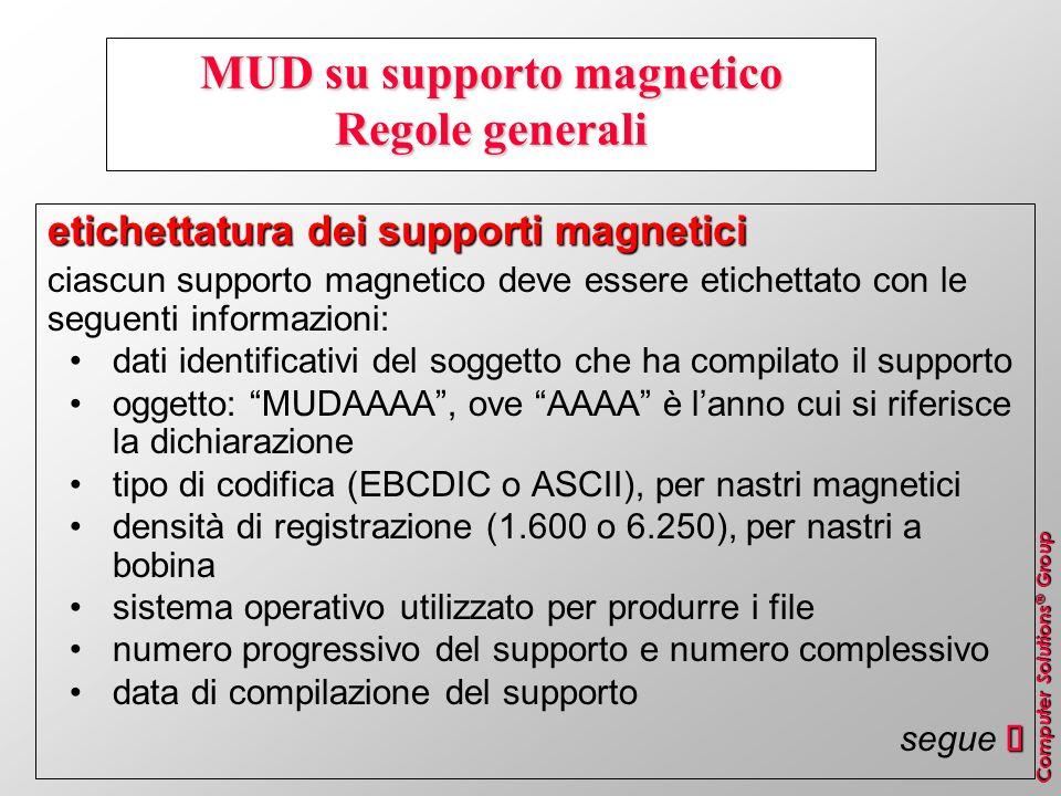 MUD su supporto magnetico Regole generali