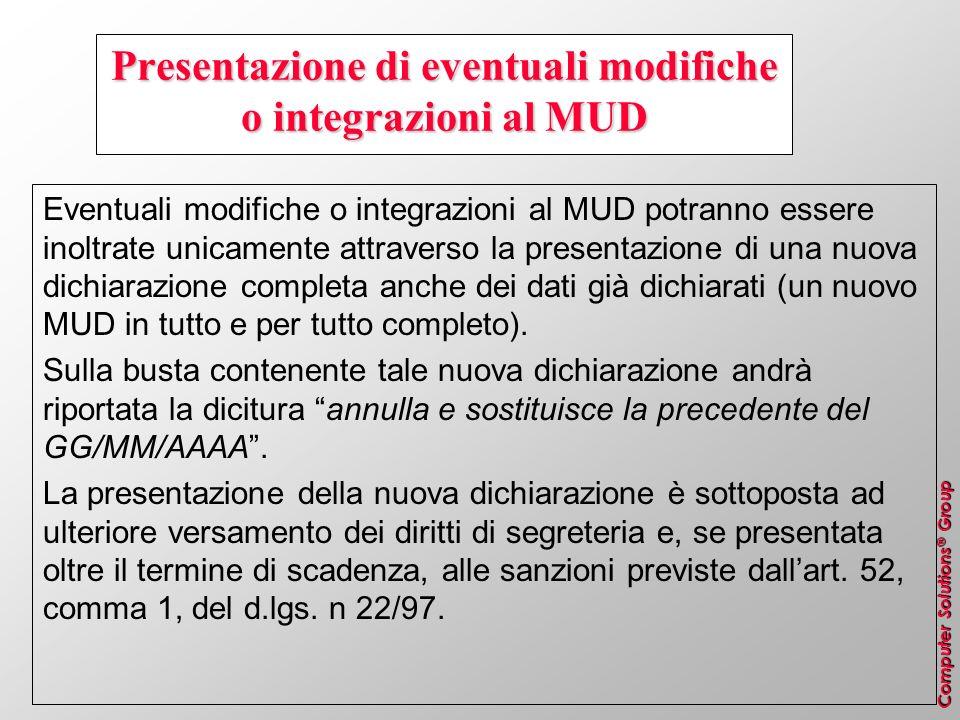 Presentazione di eventuali modifiche o integrazioni al MUD